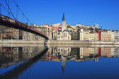 Famous view of Saone river and footbridge in Lyon city — Stock Photo