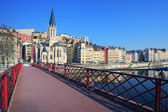 Famous view of Saone river and red footbridge in Lyon city — Stock Photo