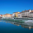 View of Lyon city and Saone River — Stock Photo