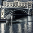 Famous bridge and University in Lyon by night — ストック写真