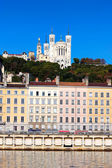 Famous view of Lyon over the Saone river — Stock Photo