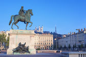 Statue and Notre Dame de Fourviere — Stock Photo