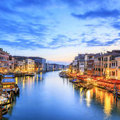 View of Grand Canal with gondolas at sunset — Stock Photo