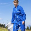 Stock Photo: Woman farmer walking