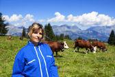 красивая женщина фермер — Стоковое фото
