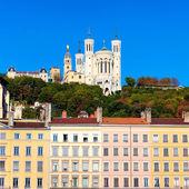 Famous view of Notre Dame de Fourviere — Stock Photo