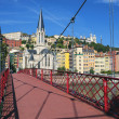 Stock Photo: View of Lyon city from red footbridge