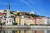 Horizontal view of Saone river in Lyon city — Stock Photo