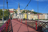 View of Lyon city from red footbridge — Stock Photo