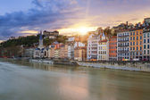 View of Saone river in Lyon city at sunset — Stockfoto