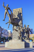 Bullfighter sculpture in front of Bullfighting — ストック写真