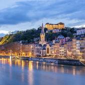 View of river saone at night, Lyon — Stock Photo