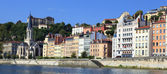 Saone river with colorful houses — Stock Photo