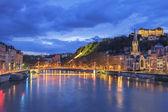Beroemde weergave van lyon met de rivier de saone — Stockfoto
