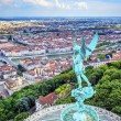 Vertical view of Lyon from the top of Notre Dame de Fourviere — Stock Photo