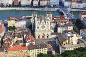 View of Lyon with Saint Jean cathedral — Stock Photo