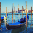 Gondolas in lagoon of Venice — Stock Photo
