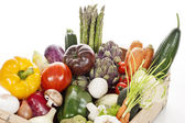Crate of raw fresh vegetables — Stock Photo