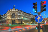 Gran via street in Madrid by night — Stock Photo