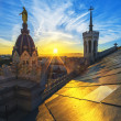 Sunset on the top of basilica — Stock Photo
