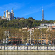Lyon with basilica and courthouse — Stock Photo