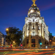 Stock Photo: Gran via in Madrid at night