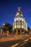 Gran via in Madrid at night — Stock Photo