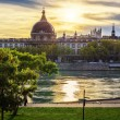 Sunset with Rhone river — Stock Photo