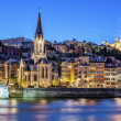 Famous view of Lyon with Saone river — Stock Photo
