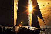 Zeilboot bij zonsondergang — Stockfoto