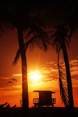 Miami South Beach sunrise with lifeguard tower — Stockfoto