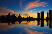 Miami city skyline panorama at dusk — Stock Photo