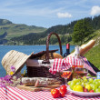 Stock Photo: Picnic in french alps with lake