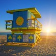 Stock Photo: Miami South Beach sunrise with lifeguard tower
