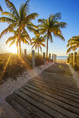 Passage to the beach at sunrise — Stock Photo