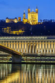 Saone river at Lyon by night — Stockfoto