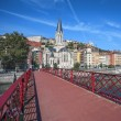 Lyon city with red footbridge — Stock Photo