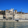 Saint Jean cathedral, next to the Saone river — Stock Photo