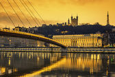 View of Saone river at Lyon at sunset — Stock Photo