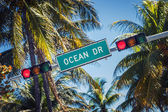 Famous street sign of Ocean Drive — Stock Photo