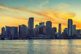 迈阿密市的佛罗里达州在日落时 — 图库照片