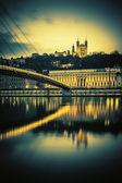 Saone river at Lyon by nigh — Stock Photo