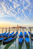 San Giorgio Maggiore church and gondolas in Venice — Stock Photo