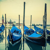 Gondolas floating in the Grand Canal at sunset — Stock Photo