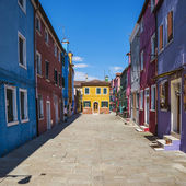 Colorful street in Burano — Stock Photo