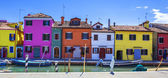 Colorful street with canal in Burano — Stock Photo