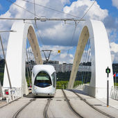 Tramway on the bridge — Stock Photo