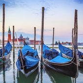 Gondolas in the Grand Canal at sunset — Stock Photo