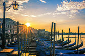 Venice with gondolas at sunrise — Stock Photo