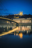 View of Saone river at Lyon by night — Stock Photo